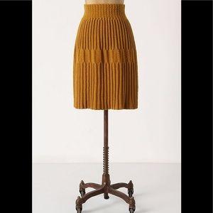 Anthropologie Gold Sweater Skirt Medium